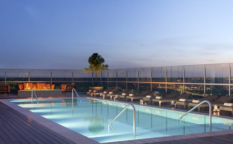 roof top pool with lounge area