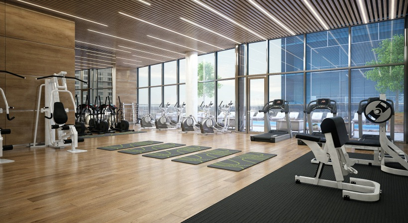 fitness center with ample equipment